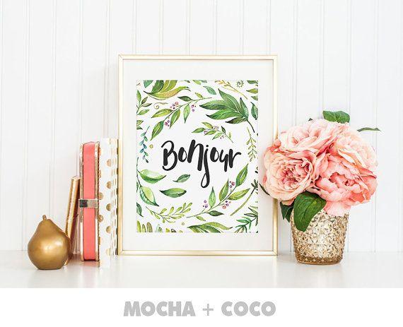Bonjour Wish Art Print Poster Floral art print by MochaAndCoco