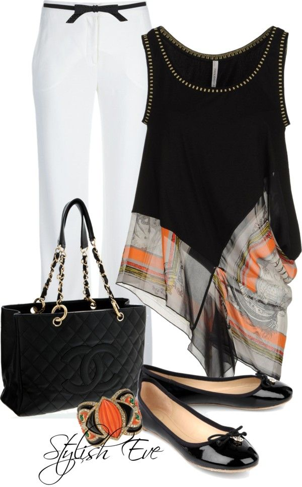 DRAMATIC OUTFIT.. WHITE SLACKS,SLEEVELESS BLACK/MULTI COLOR TOP.. BLACK PATENT FLATS,AND CHANNEL BAG.. NICE OUT ON THE TOWN!!!