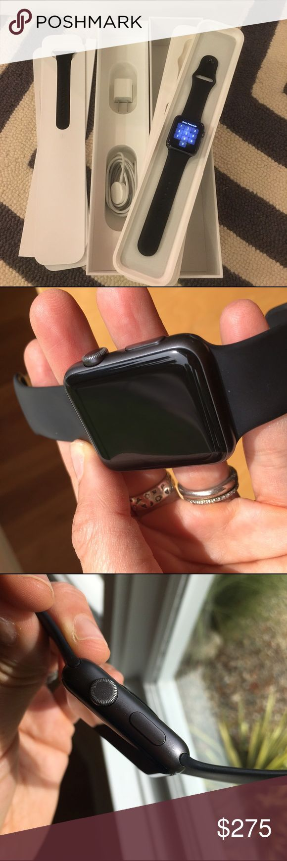 Apple Watch Sport 42mm Aluminum Space Grey ACare+ Great working condition. AppleCare+  til 8/10/17 & will be transferred 2u.  Black Sports band. Both lengths included. Charger, wall plug included w/ original box. Watch OS3. Data erased. Watch & band in great condition w/ some wear. Band has light marks. Metal looks good w/ few areas of abrasion on sides. Small ding near one of the connectors. Digital crown smooth. Screen has faint surface scratches that can't be felt & can only be seen…