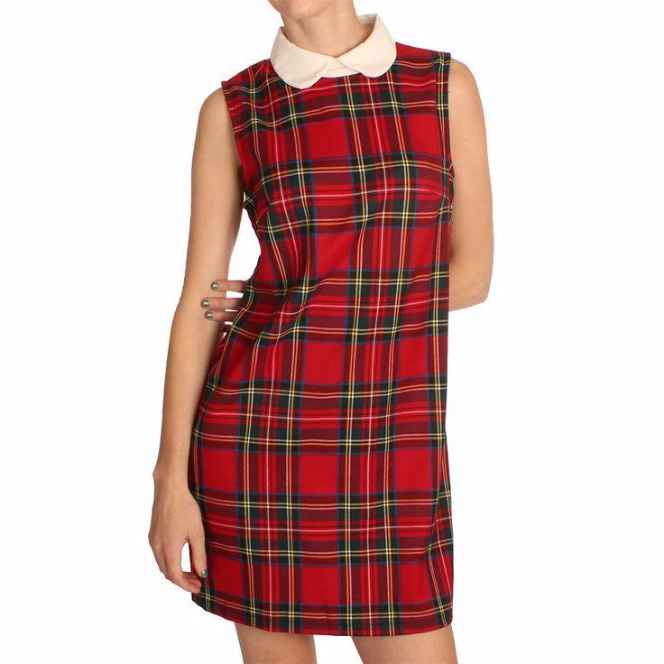 Ark Red Heather Peter Pan Collar Tartan Shift Dress >>things we love at www.ark..co.uk #dresses #knits #arkclothing #peterpan #collar