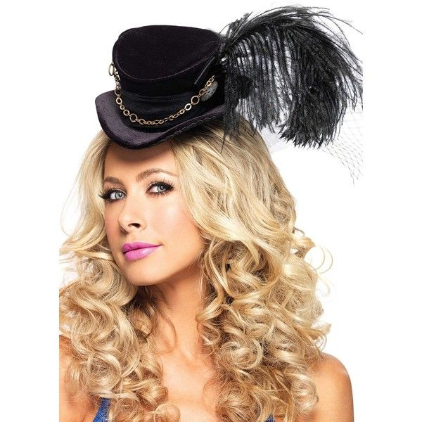 Leg Avenue Steampunk Top Hat With Chain And Feather Accent 025 Liked On
