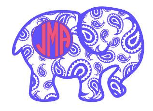 Monogram decalPaisley Elephant Decal by Scrappychicksonvinyl