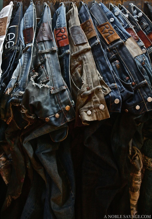Maybe a good way to organize jeans? More for photography on the link..maybe coffee cup hooks or something to hang them from belt loop?