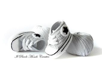 Baby Booties Baby Converse Crochet by PiccoloMondoCreativo on Etsy