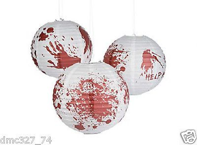 "6 HALLOWEEN Party Decorations ZOMBIE Walking Dead BLOODY 12"" BALLOON LANTERNS"