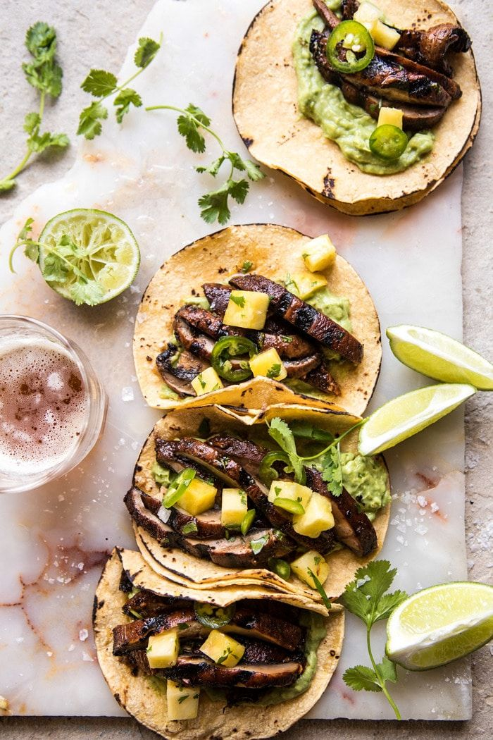 Asada Mushroom Tacos with Lime Smashed Avocado   halfbakedharvest.com #tacos #healthy #dinner #mexican
