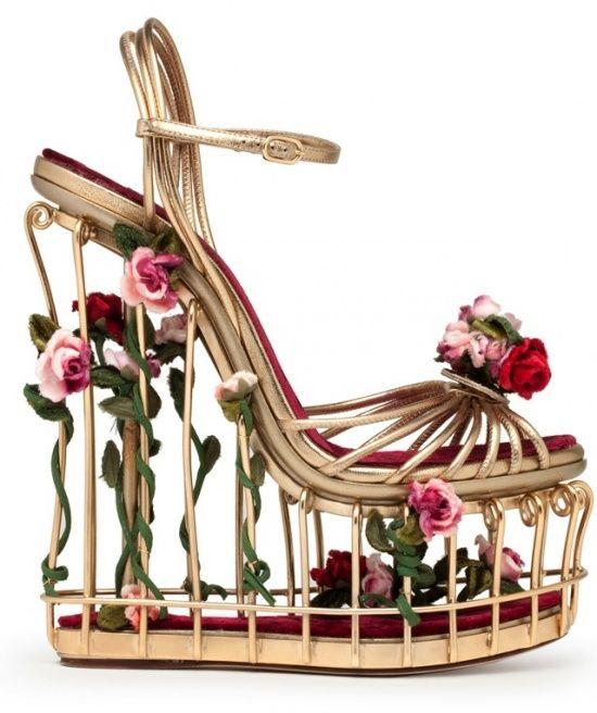 sandales compensées roses Dolce & Gabbana automne hiver 2013 2014