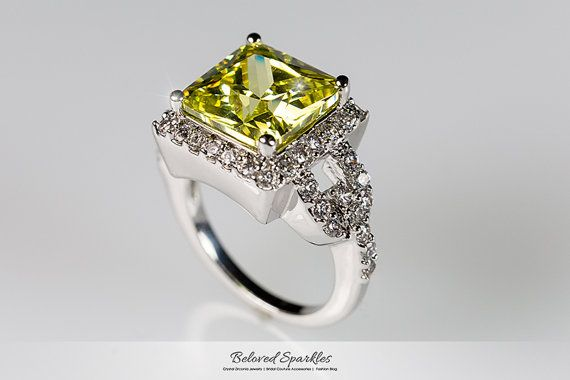 Canary Yellow Ring 7 Carat Yellow Cocktail CZ by BelovedSparkles