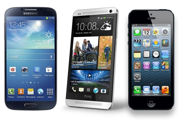 Samsung Galaxy S4 vs. iPhone 5 vs. HTC One