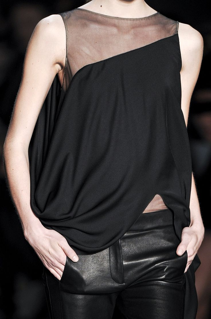 styletrove: Trend watch: Organza spliced tank and leather pants.