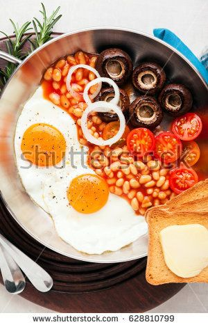 american Breakfast with fried Eggs
