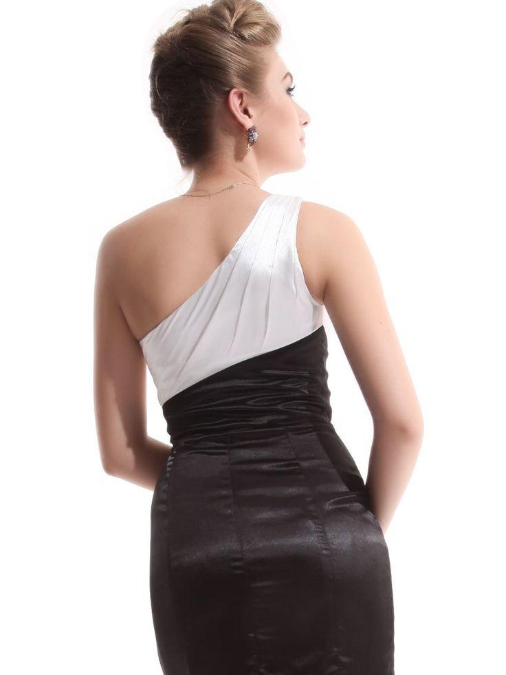 Een schouder zwarte steentjes 9673 beige satijn ladies' s avonds lange jurken formele toga 2014 in van op Aliexpress.com