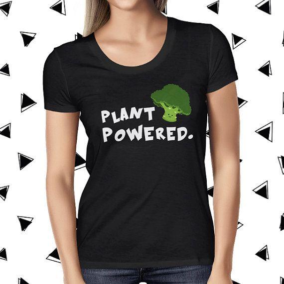 Vegan Plant Powered T Shirt - Vegan T-shirt - Vegan Broccoli Tee - Womens Vegan Clothing - Healthy - Funny Tee - Vegetarian - Plant-based