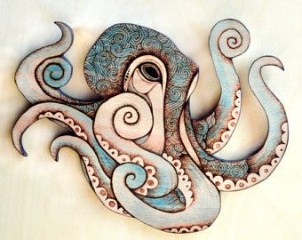Nice! practice adding  watercolor effect on my wood crafts. (Octopus Wall Hanging, Pyrography wall hanging, octopus decor, kraken art, Wood seahorse, sea art, marine decor, ocean art, octopus Wall art