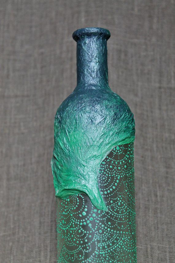 15 OFF SALE Hand painted decoupage decorative wine by SoulMadeArt, $40.00