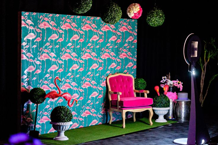 Our custom made photo wall. Flamingo covered wallpaper, luxe velvet chair and lots of fun!!!  Photo by Jon Jarvela