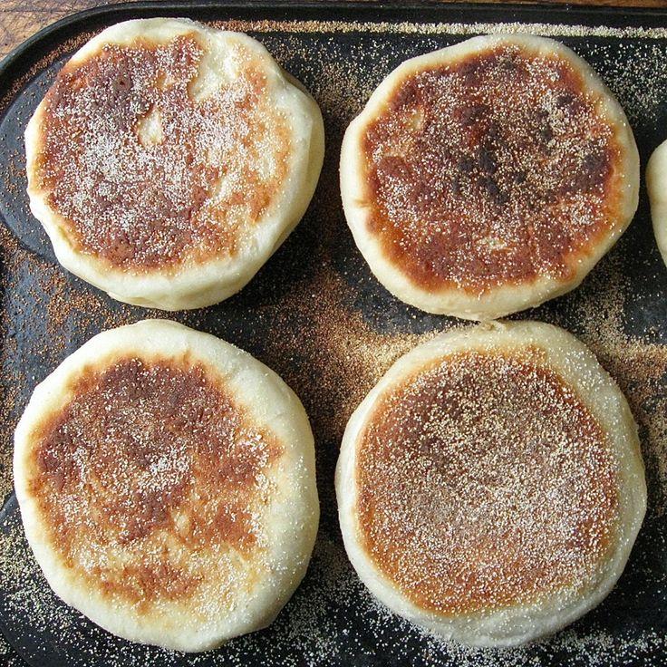 English Muffins  http://www.kingarthurflour.com/blog/2013/01/23/english-muffins-splitting-image/