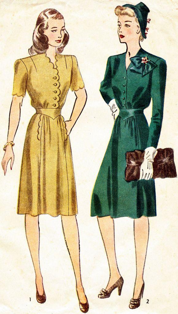 Fashion 1940s Two Female Models Flirty 40s Style Evening: ... Women – Fashion History Inspired