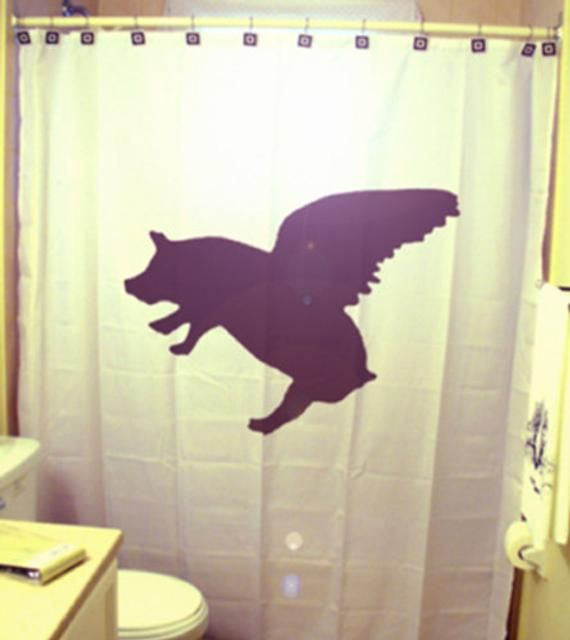 Flying Pig Shower Curtain Extra Long Fabric Shower Curtains