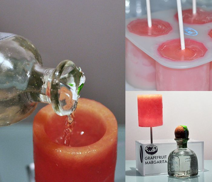 <b>Throw it back, then chomp it up.</b> grapefruit margarita shots sickle with tequila