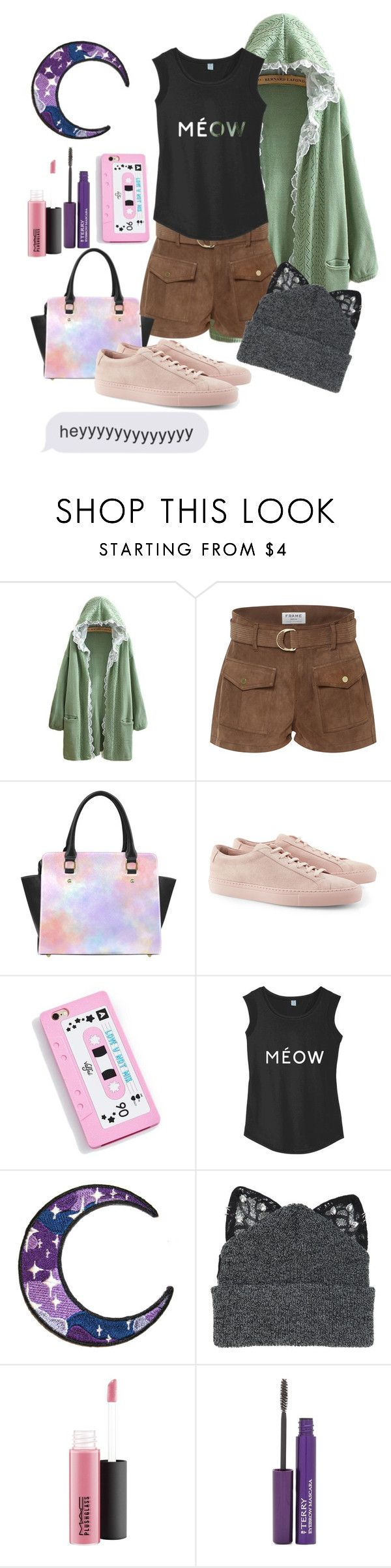 """""""Heyyyyyyyyyy"""" by aby-ocampo ❤ liked on Polyvore featuring Frame, Common Projects, Silver Spoon Attire, MAC Cosmetics and By Terry"""