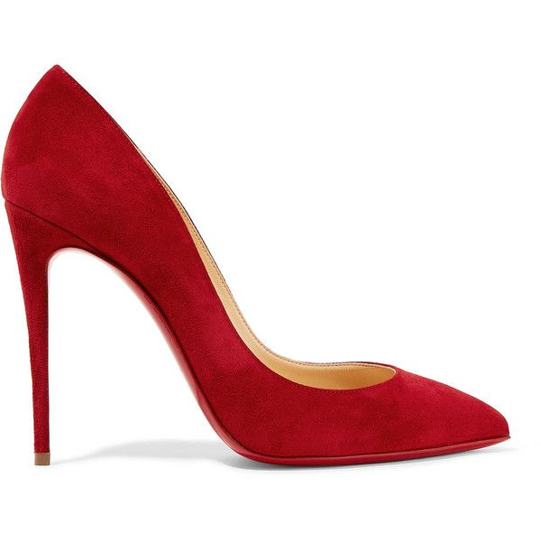 Christian Louboutin Pigalle Follies 100 suede pumps (£455) ❤ liked on Polyvore featuring shoes, pumps, heels, christian louboutin, zapatos, red pointy toe pumps, red stiletto pumps, slip on shoes, red high heel shoes and red shoes