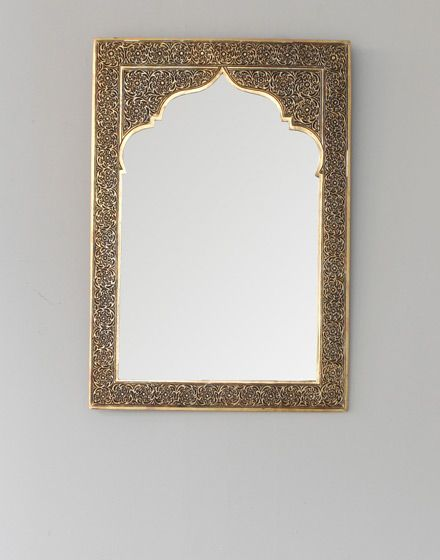 Hand Chiselled Brass Moroccan Mirror - Arabic Style