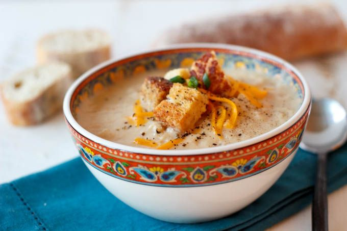 Creamy Cauliflower and Cheddar Soup | from Simple Healthy Kitchen