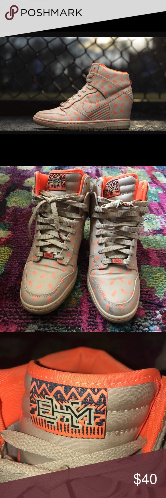 Nike BHM dunk wedges size 9 These size 9 Nike Dunk Wedges were dedicated to Serena Williams which is why they have zooming tennis balls all over the shoe. A definite show stopper. A couple scuffs, but in great wearable condition. Nike Shoes Sneakers