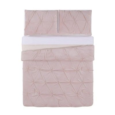 Truly Soft Everyday King Pleated Velvet Duvet Cover Set Blush