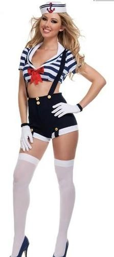 Sexy marine Sailor Girl Costume Top + Suspenders /w Hat Halloween @Trinadi Lisle