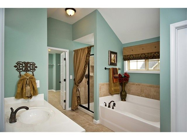love the wall color in this bathroom and the valance idea
