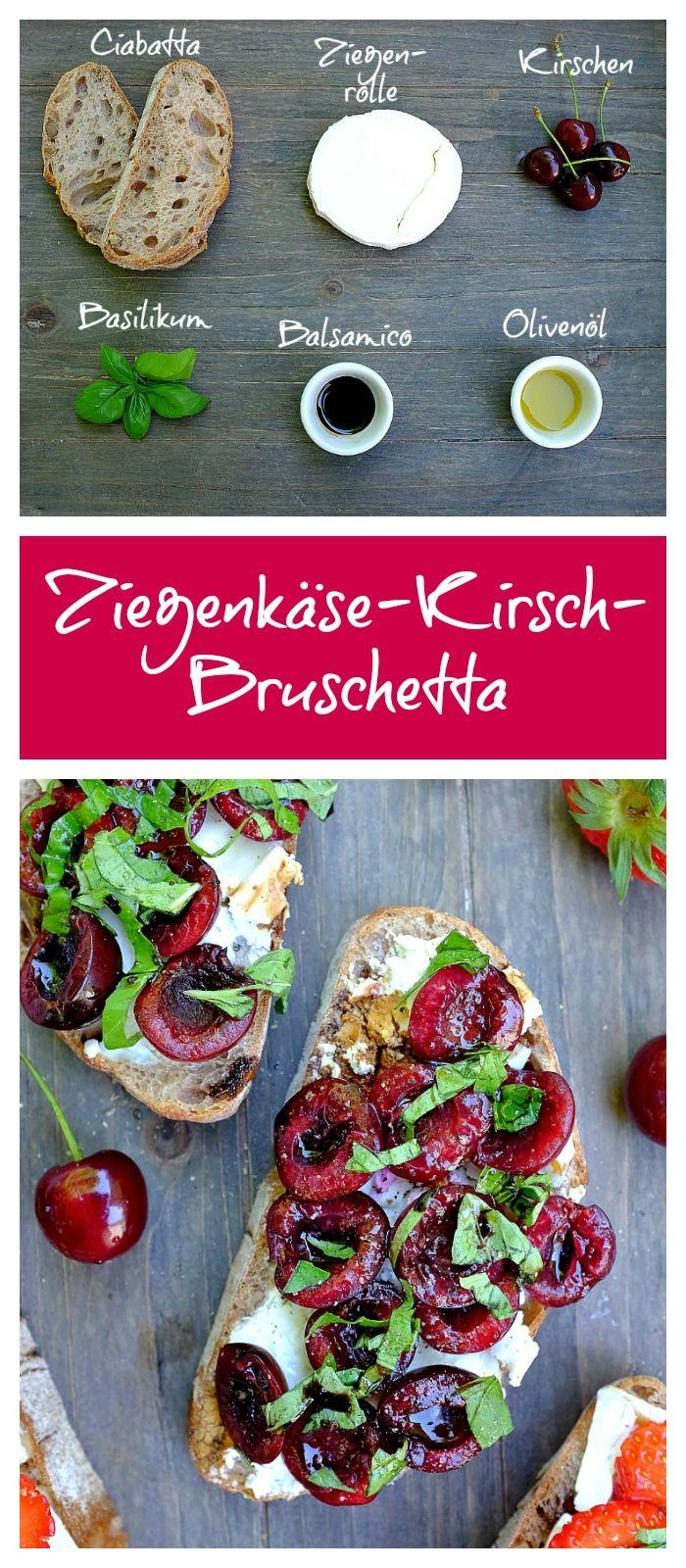 Bruschetta | Crostini | Kirschen | Ziegenkäse | einfach | schnell | Abendessen | Appetizer