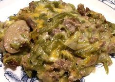 GREEN BEAN AND HAMBURGER CASSEROLE - Linda's Low Carb Menus & Recipes    http://genaw.com/lowcarb/greenbean_burger_cass.html