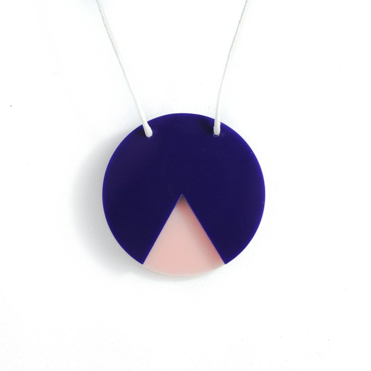 Amindy  - GEO - Circle Necklace - Navy and Blush Pink - $30 - Shop online at www.amindy.com.au