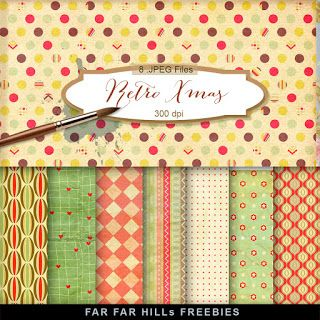Far Far Hill - Free database of digital illustrations and papers: New Freebies Kit - Retro Xmas