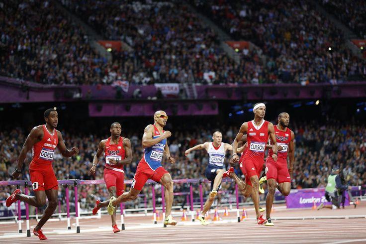 Men's 400m hurdle action