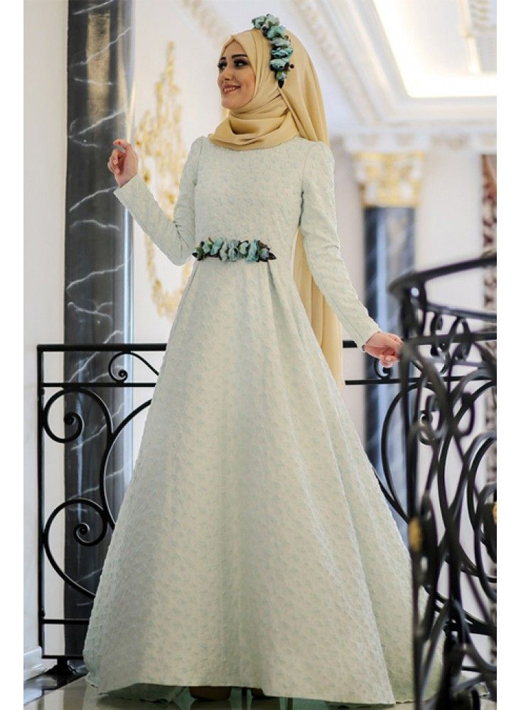 En Sik Tesettur Nikah Abiye Elbise Modelleri Elsa Abiye Mint Minel Ask Long Sleeve Dress Dresses Dresses With Sleeves