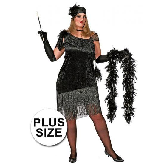 Grote maten Charleston jurk voor dames. Zwart Charleston jurk exclusief accessoires.