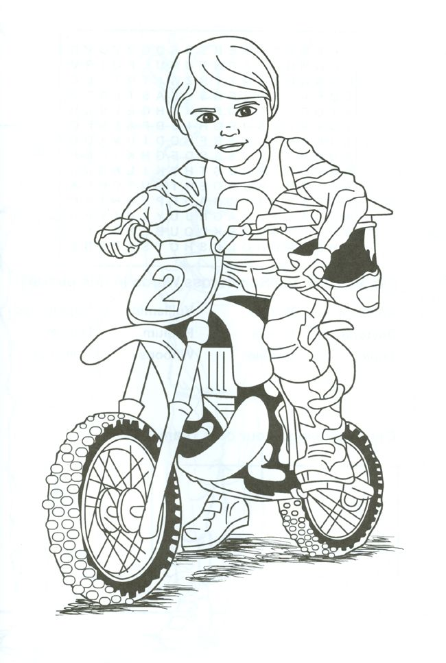 dirt bike rider coloring page. Tina.... we cn print this and fayth could color this on the way to the desert lol