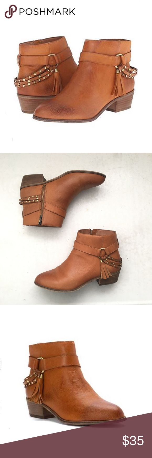 "Chinese Laundry | 'Seasons' Ankle Boot Cognac genuine leather ankle boots.  Stacked 2"" heel, manmade sole.  Harness ring, tassels, and stud detailing.  Inside zipper closure.  These are labeled size 9/40, and are a little bit roomy in the heel area with thin socks.  Fit comfortably with thick socks or also fit a size 9.5 snuggly.  Gently worn, in excellent condition. Chinese Laundry Shoes Ankle Boots & Booties"