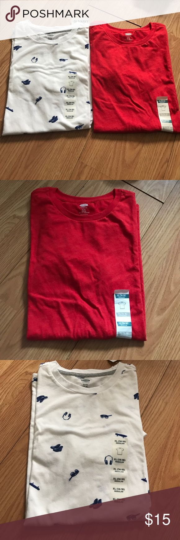 Old Navy t shirt bundle White with pattern is size XL (14-16) and the plain red shirt. XL. Brand new with tags oldNavy Shirts & Tops Tees - Short Sleeve