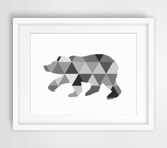 Bear art bear print tribal triangle wall art black for Black and white mural prints