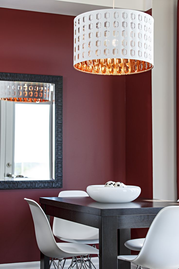 Funky White And Copper Dining Room Pendant Light