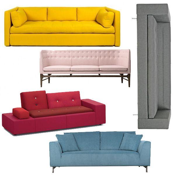 Een gekleurde bank? Ga voor een kleur waar je echt van houdt en één die liefst niet zo modegevoelig is. Hier zie je: (Geel) #Hay Hackney Sofa bank, (Roze) #&tradition Mayor sofa, (Rood) #Vitra Polder sofa XS, (Blauw) #Zuiver Dragon Rib bank en (Grijs) #Gelderland 7330 bank. Allemaal verkrijgbaar bij Flinders!