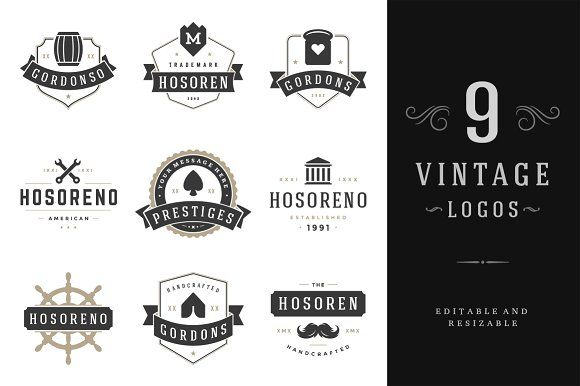 9 Vintage Logotypes or Badges by Vasya Kobelev on @creativemarket