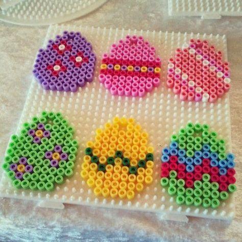 Easter eggs hama perler beads - Mad fra Louise Bach