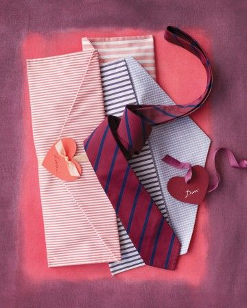 A tie is a classic gift for him. Make it even more enticing by presenting it in a handmade fabric envelope that he can use for travel. Basic sewing skills are all you need to stitch one up from traditional shirting fabric. And don't forget to seal it with a heart tag.