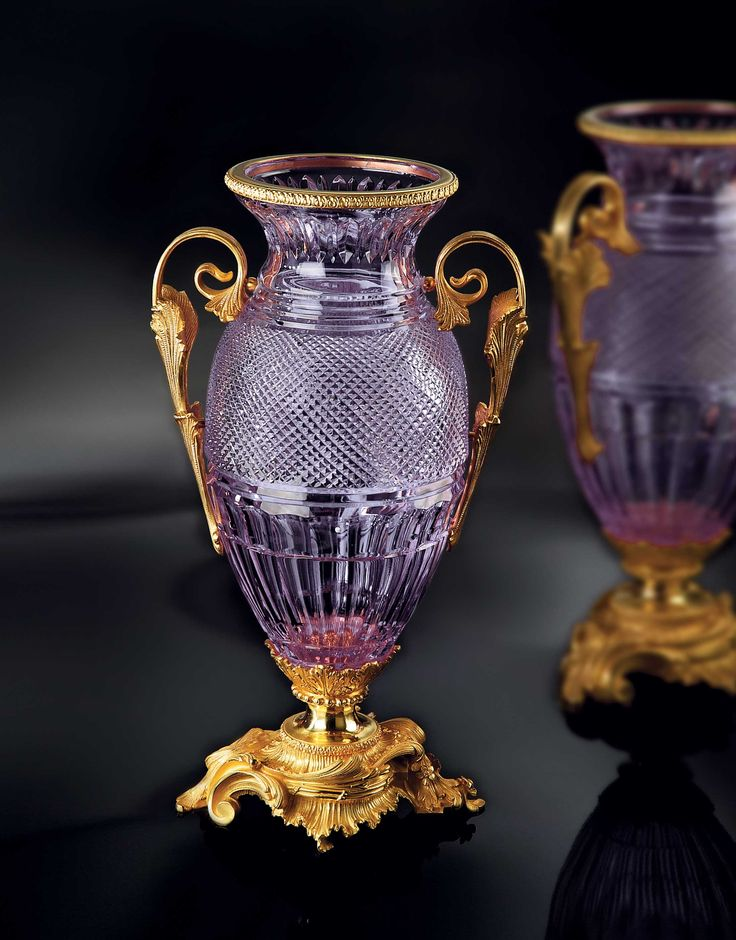London Vase In Liliac Crystal And 24k Gold Plated Bronze