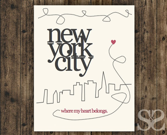 New York Wall Art, My Heart Belongs in NYC - Pink and Grey Inspirational Wall Decor, Picture, Poster, Digital Print - 8x10. $14.50, via Etsy.